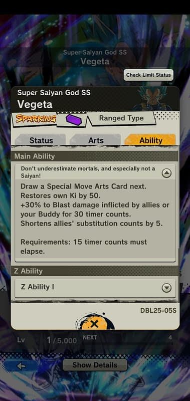 DBL Super Saiyan God SS Vegeta DBL25-05S - Ability