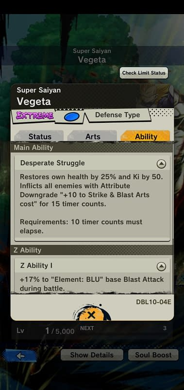 DBL Super Saiyan Vegeta DBL10-04E - Ability