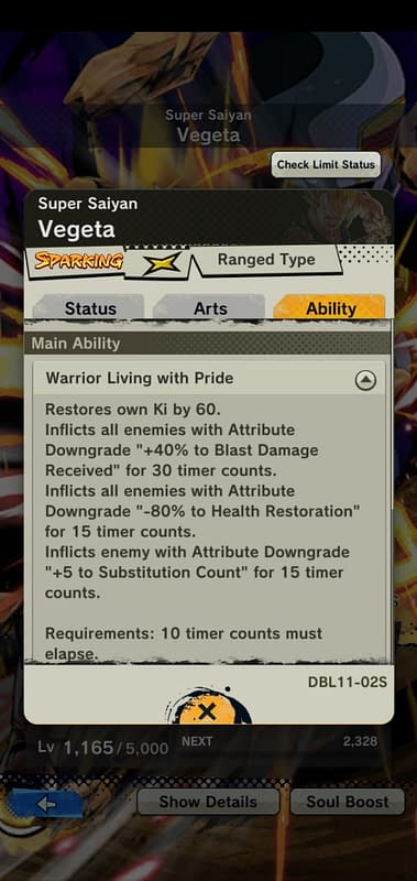 DBL Super Saiyan Vegeta DBL11-02S - Ability