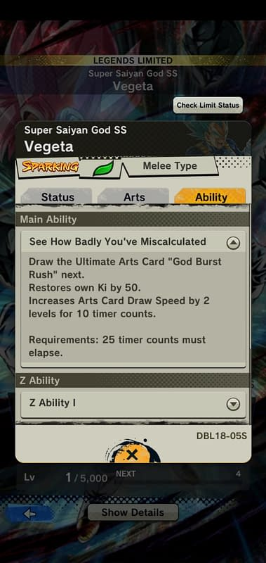 DBL Super Saiyan God SS Vegeta DBL18-05S - Ability
