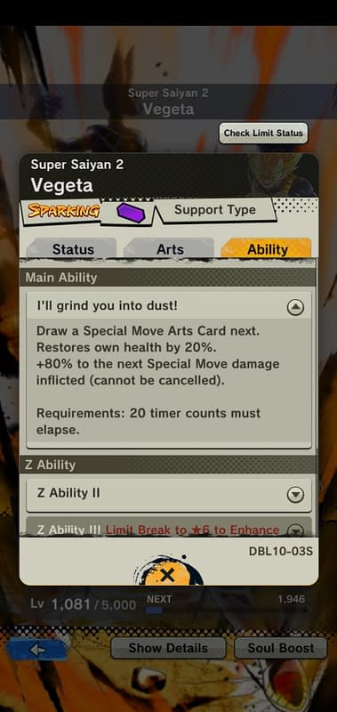 DBL Super Saiyan 2 Vegeta DBL10-03S - Ability