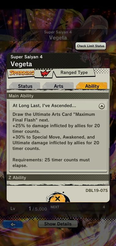 DBL Super Saiyan 4 Vegeta DBL19-07S - Ability