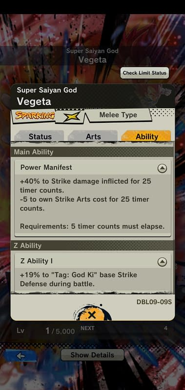 DBL Super Saiyan God Vegeta DBL09-09S - Ability